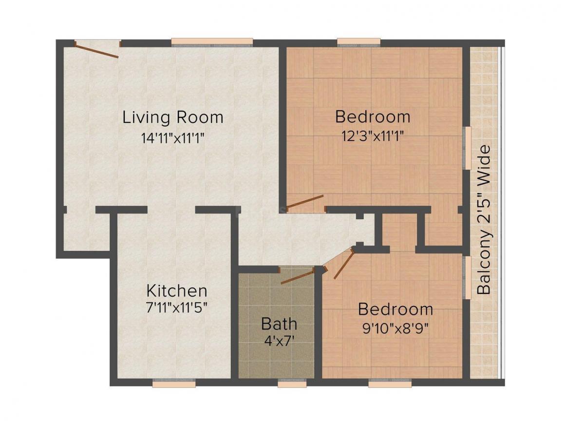 Komal Floors - II Floor Plan: 2 BHK Unit with Built up area of 450 sq.ft 1