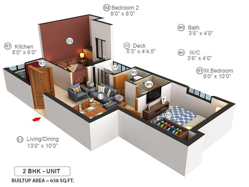 Doshi FirstNest Floor Plan: 2 BHK Unit with Built up area of 638 sq.ft 1