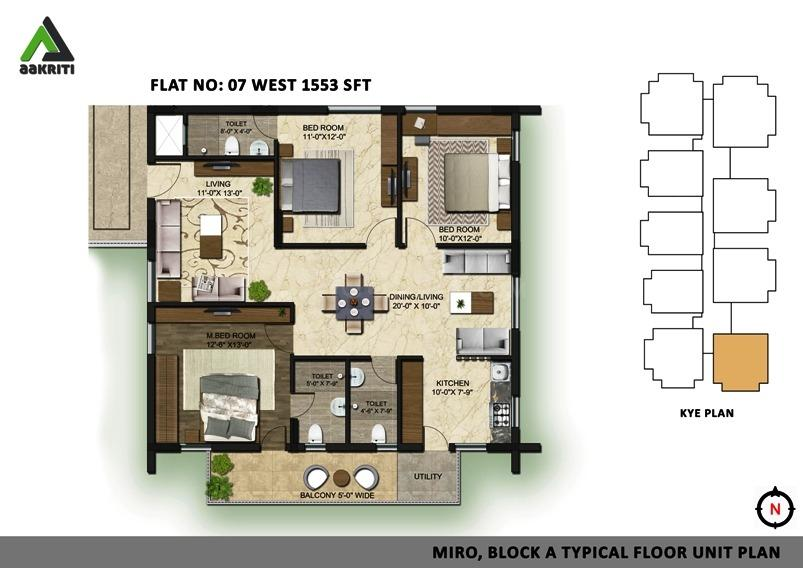Aakriti Miro Floor Plan: 3 BHK Unit with Built up area of 1553 sq.ft 1