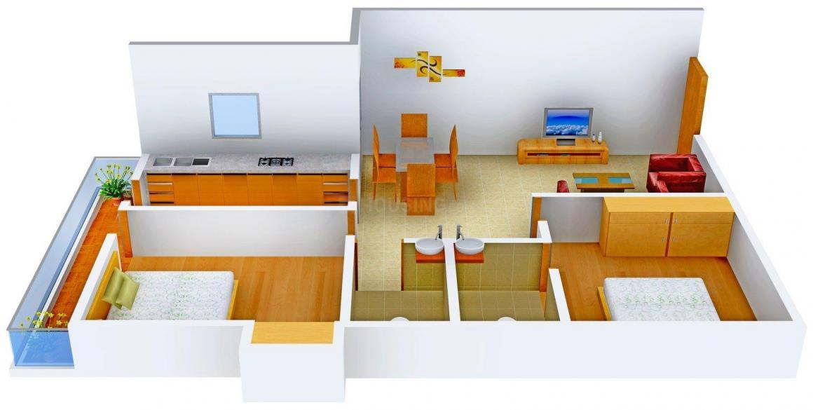 Floor Plan Image of 1110.0 - 1575.0 Sq.ft 2 BHK Apartment for buy in Kashish Sail City