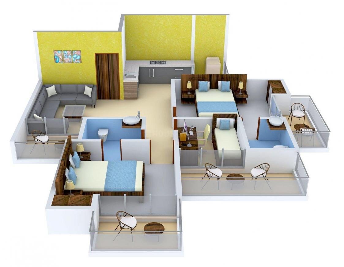 Apex Athena Floor Plan: 2 BHK Unit with Built up area of 1295 sq.ft 1