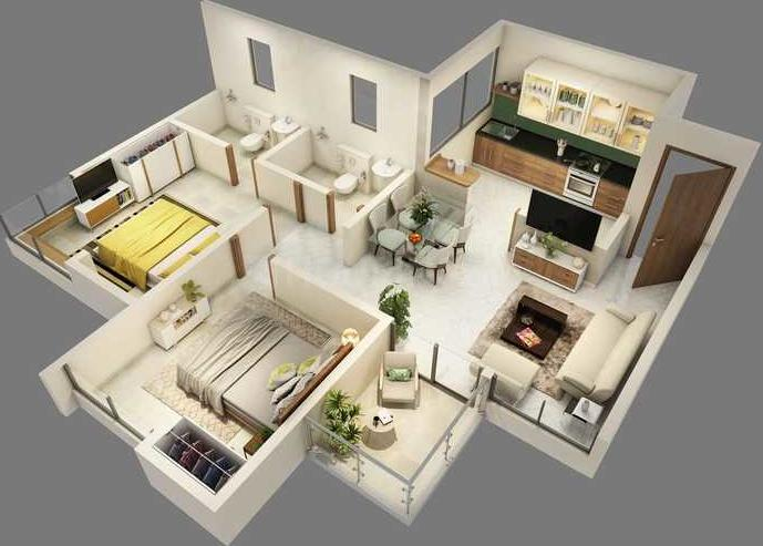HiLife Floor Plan: 2 BHK Unit with Built up area of 654 sq.ft 1