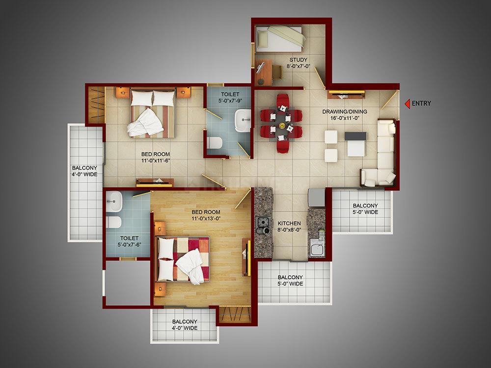 Samridhi Luxuriya Avenue Floor Plan: 2 BHK Unit with Built up area of 703 sq.ft 1