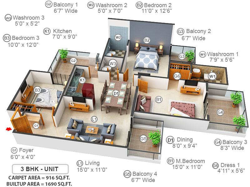 Gaursons Hi Tech Sports Wood Floor Plan: 3 BHK Unit with Built up area of 916 sq.ft 1
