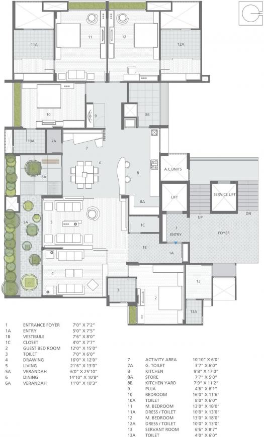 Goyal Riviera Antilla Floor Plan: 4 BHK Unit with Built up area of 4500 sq.ft 1