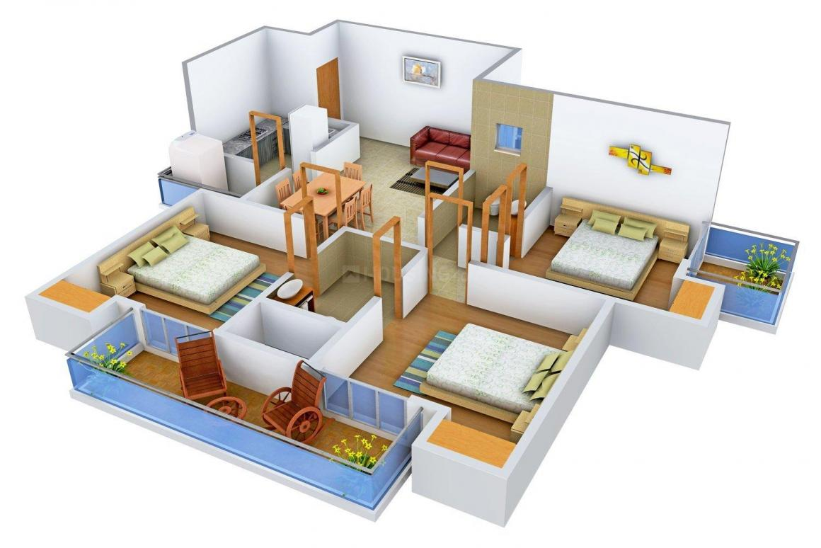 Floor Plan Image of 1330.0 - 2160.0 Sq.ft 3 BHK Apartment for buy in Maxheights Aravali One
