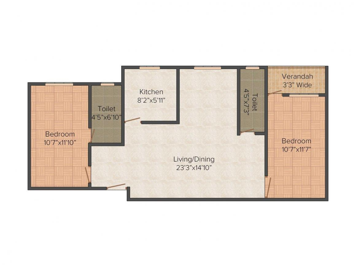 Floor Plan Image of 983 - 1441 Sq.ft 2 BHK Apartment for buy in Starlite Sunny Divine