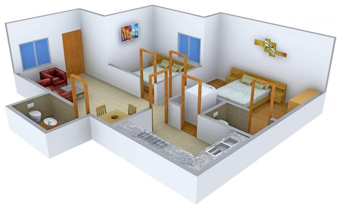 Aiswarya Nest Floor Plan: 2 BHK Unit with Built up area of 888 sq.ft 1