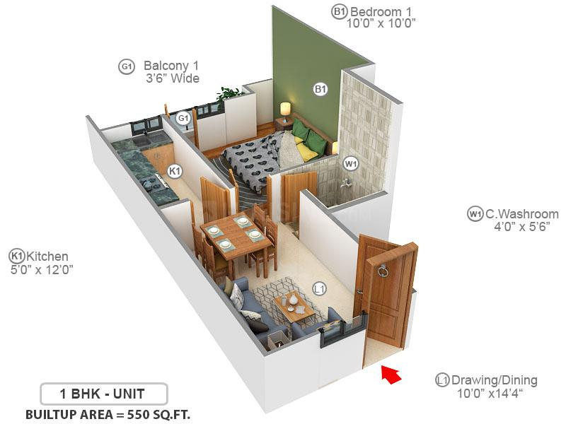 Lucky Palm Valley Floor Plan: 1 BHK Unit with Built up area of 550 sq.ft 1