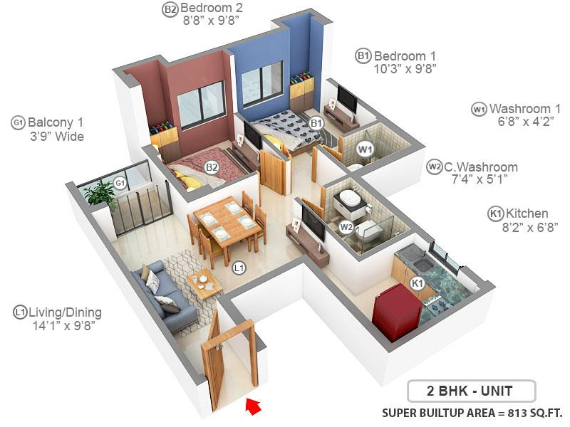 Rajat Avante Floor Plan: 2 BHK Unit with Built up area of 813 sq.ft 1
