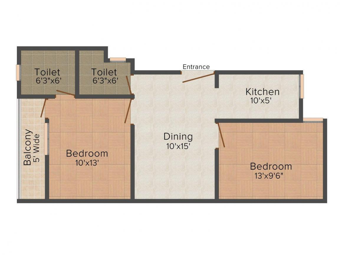 Dream House - 3 Floor Plan: 2 BHK Unit with Built up area of 720 sq.ft 1