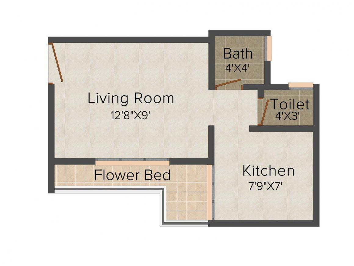 Floor Plan Image of 273 - 370 Sq.ft 1 RK Apartment for buy in Villa Infra Maple Villa