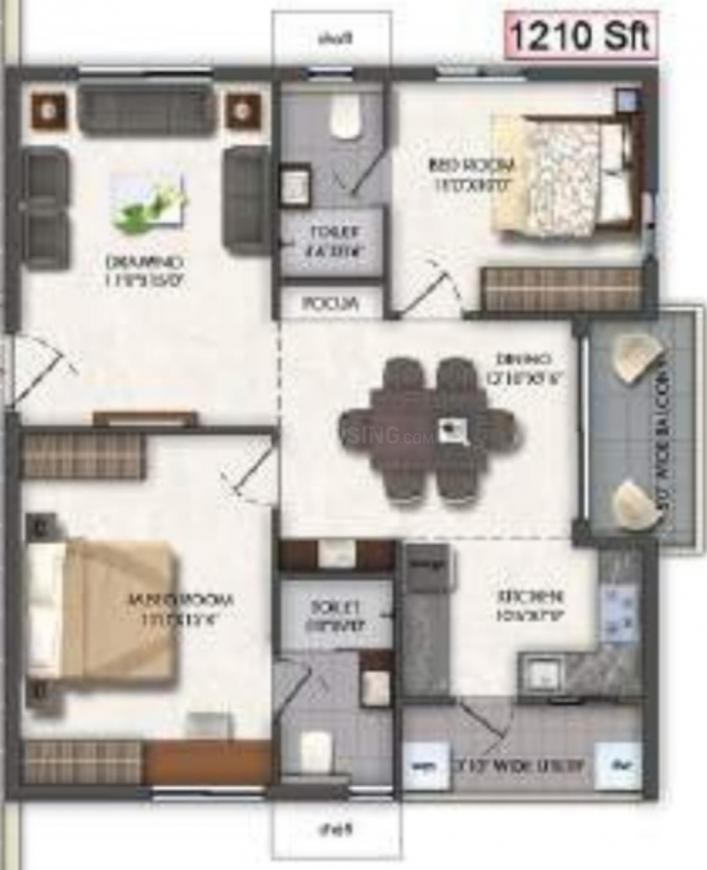 Aspire Spaces Ameya Floor Plan: 2 BHK Unit with Built up area of 1210 sq.ft 1