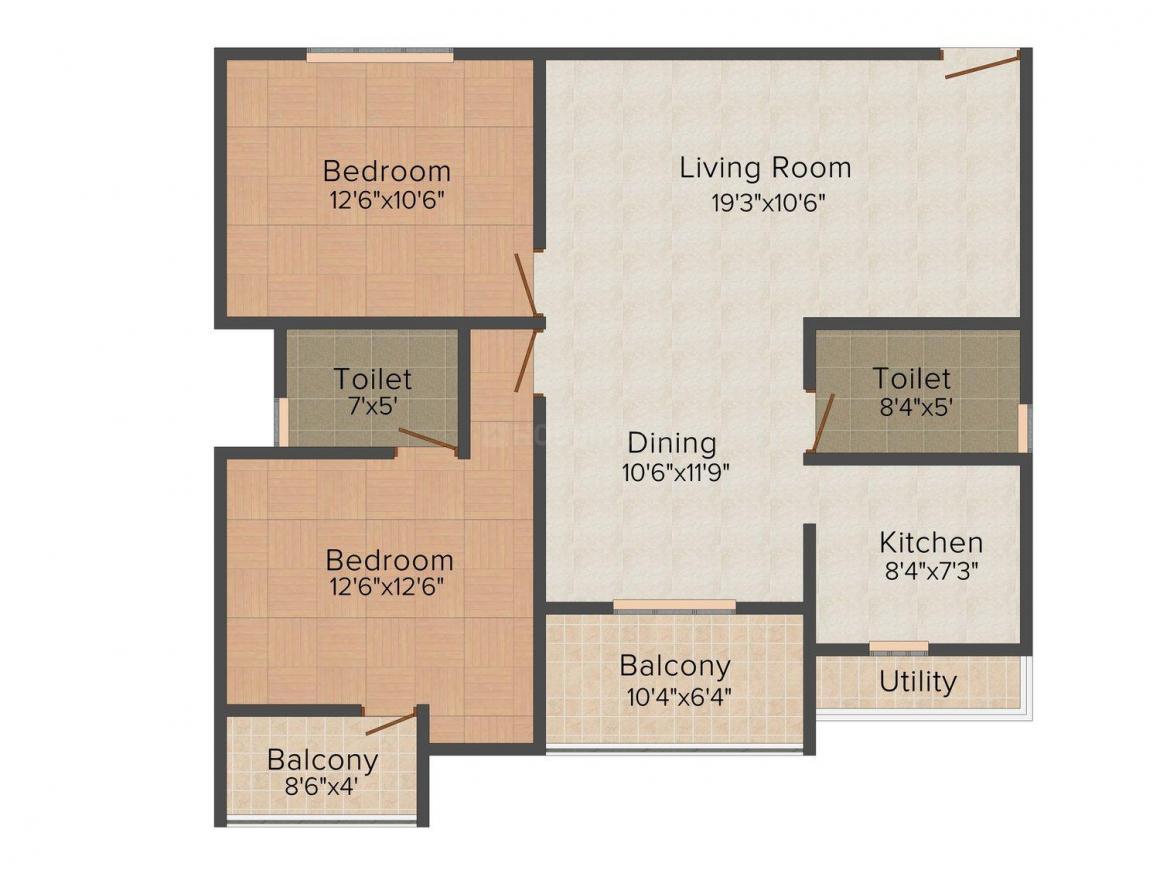 Floor Plan Image of 1176.0 - 1685.0 Sq.ft 2 BHK Apartment for buy in Vandana Earl's Court