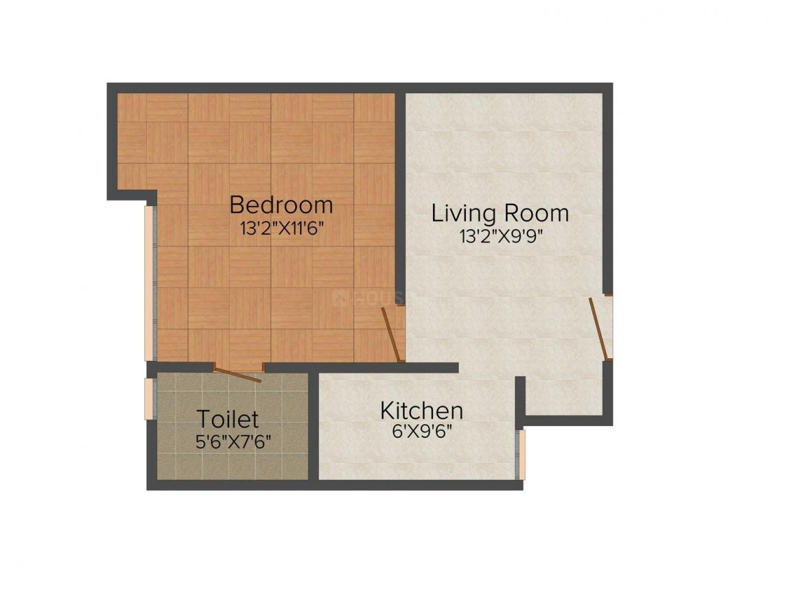 Ameya Sapphire Eighty Three Floor Plan: 1 BHK Unit with Built up area of 688 sq.ft 1