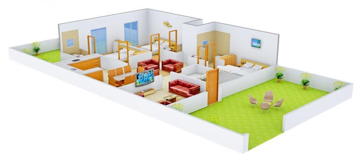 Guru Kripa Associates 3 Floor Plan: 3 BHK Unit with Built up area of 1950 sq.ft 1