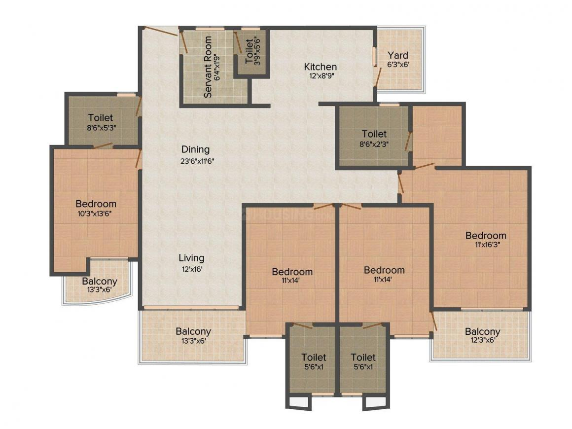 Mapsko Casa Bella Floor Plan: 4 BHK Unit with Built up area of 2535 sq.ft 1
