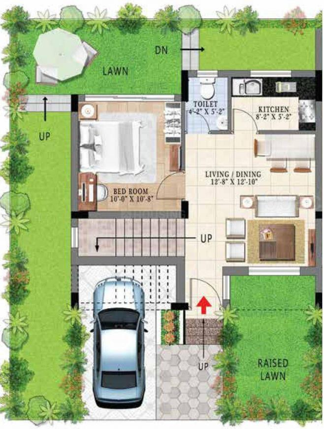 Gems City Villa Floor Plan: 3 BHK Unit with Built up area of 885 sq.ft 1