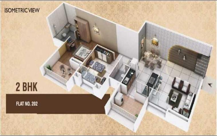 Haware Grand Heritage Floor Plan: 2 BHK Unit with Built up area of 644 sq.ft 1