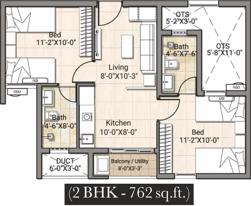 DRA Truliv Navalur Floor Plan: 2 BHK Unit with Built up area of 762 sq.ft 1