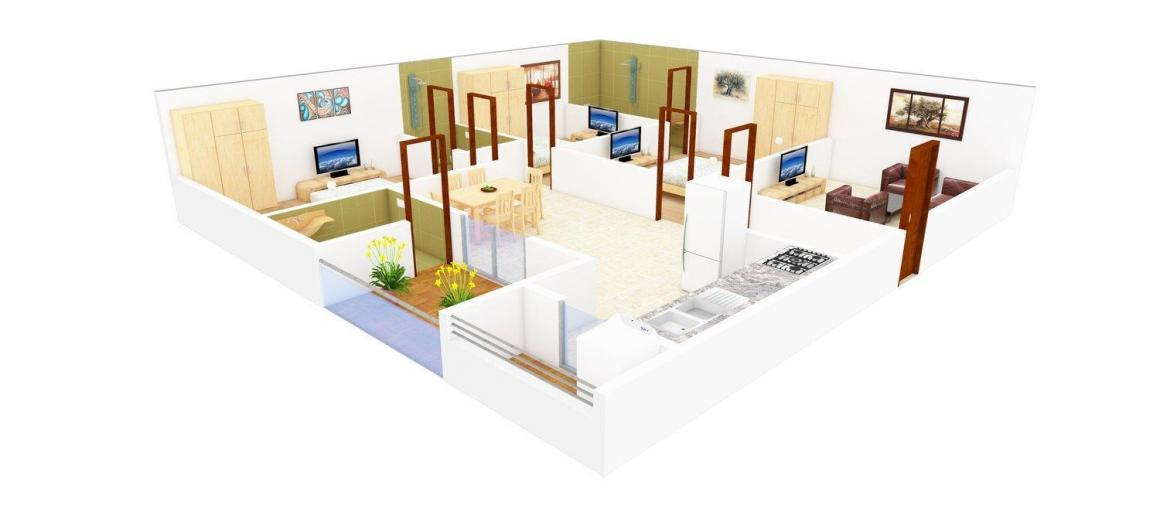 Floor Plan Image of 0 - 1443.0 Sq.ft 3 BHK Apartment for buy in  Shiv Sai  ARM Constructions