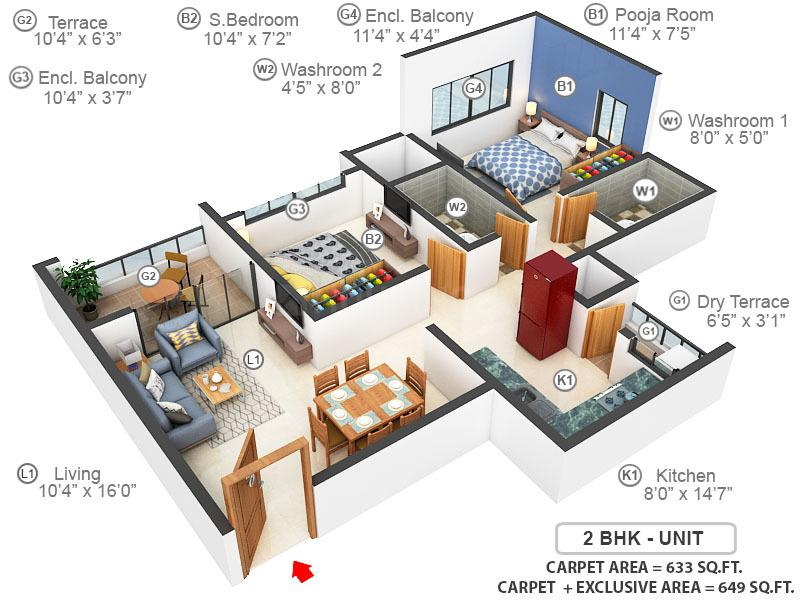 Kumar Piccadilly E Building Floor Plan: 2 BHK Unit with Built up area of 633 sq.ft 1