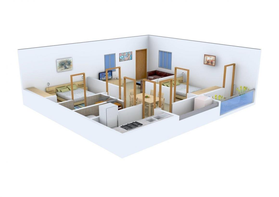 Shyam Constructions Shyam Heights Phase I II Floor Plan: 2 BHK Unit with Built up area of 1085 sq.ft 1