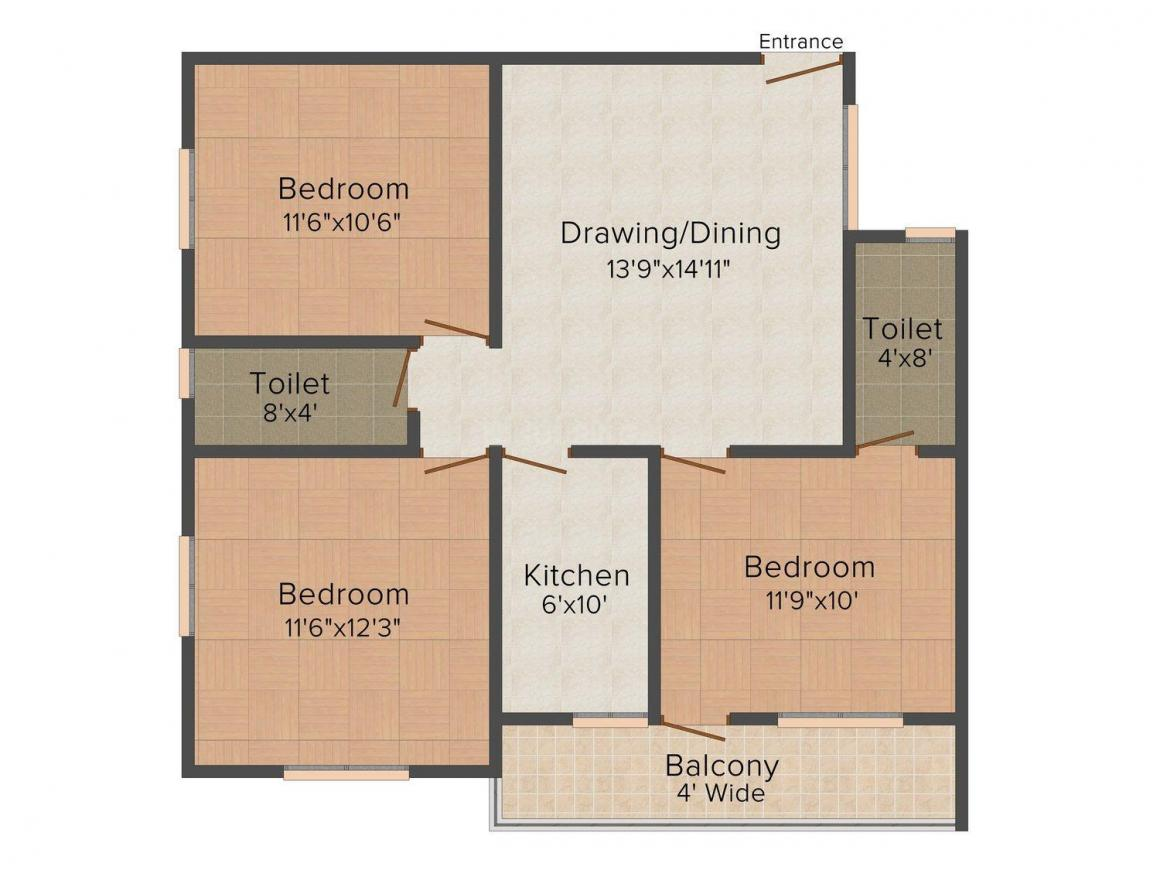 Floor Plan Image of 0 - 1116 Sq.ft 3 BHK Apartment for buy in Mittal AM Residency Plaza