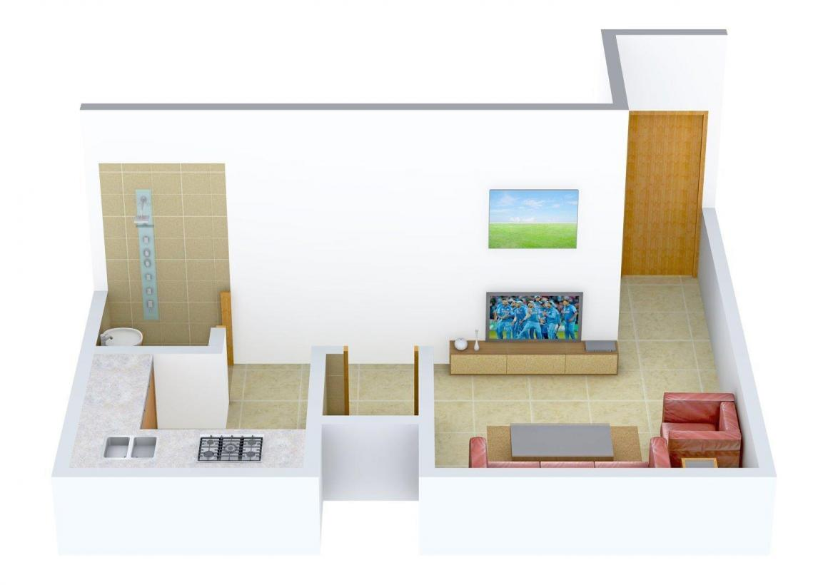 Floor Plan Image of 360.0 - 560.0 Sq.ft 1 RK Apartment for buy in Angel Ashapura Apartment