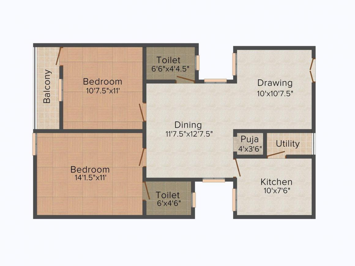 Floor Plan Image of 988.0 - 1163.0 Sq.ft 2 BHK Apartment for buy in Namishree Eeshwar Arcade