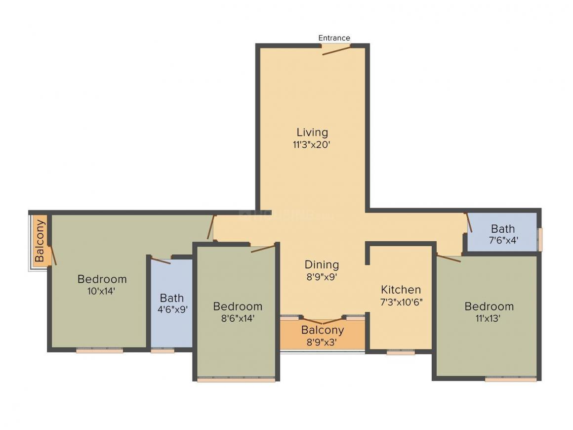 Harmony Sangeetha Floor Plan: 3 BHK Unit with Built up area of 1270 sq.ft 1
