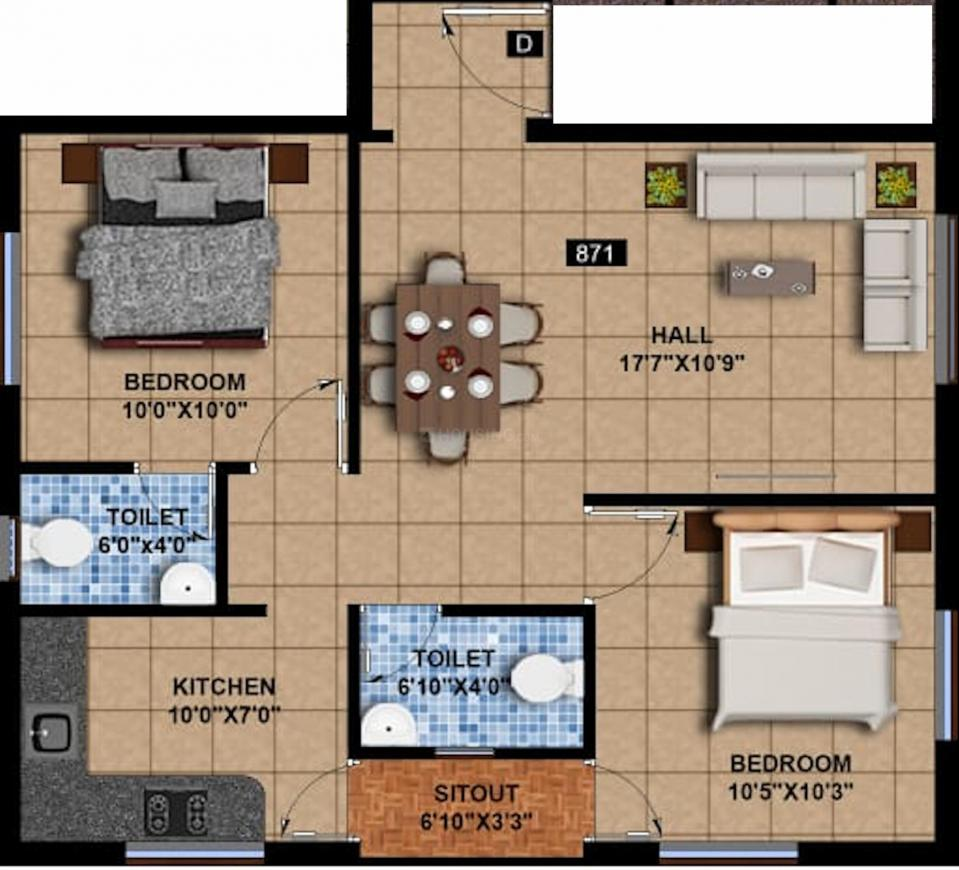 Mantra 5800 Floor Plan: 2 BHK Unit with Built up area of 871 sq.ft 1