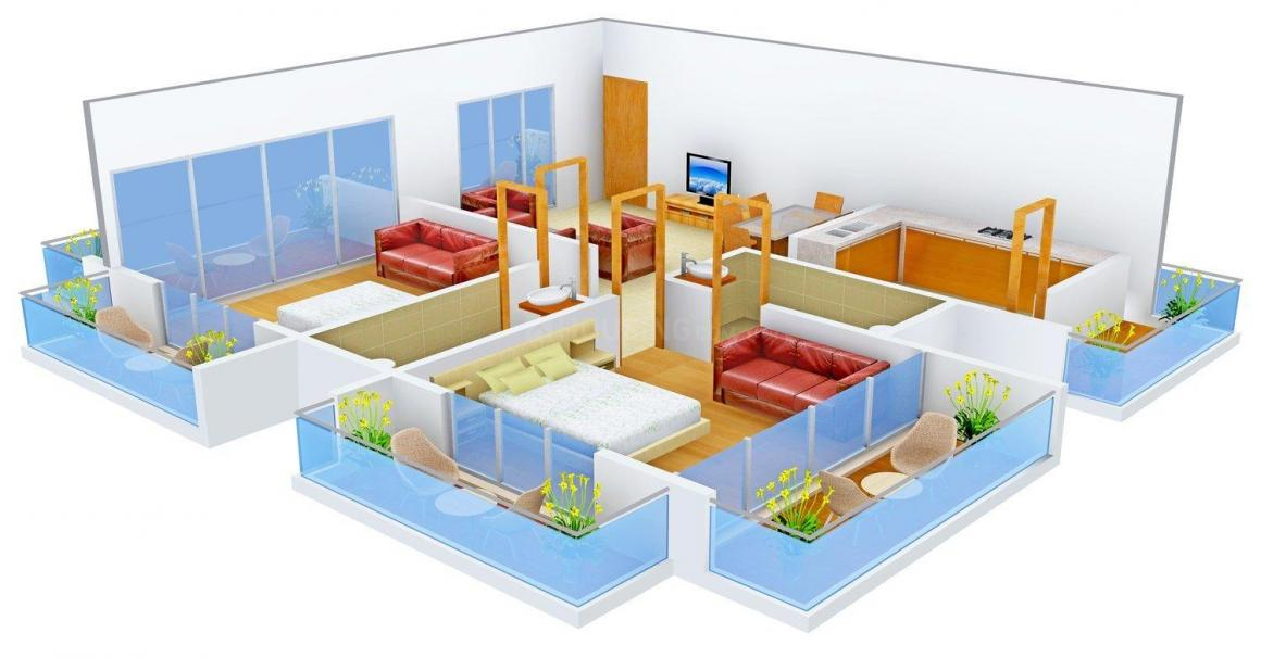 Floor Plan Image of 0 - 1076.0 Sq.ft 2 BHK Apartment for buy in Skyliners Shiva Heights