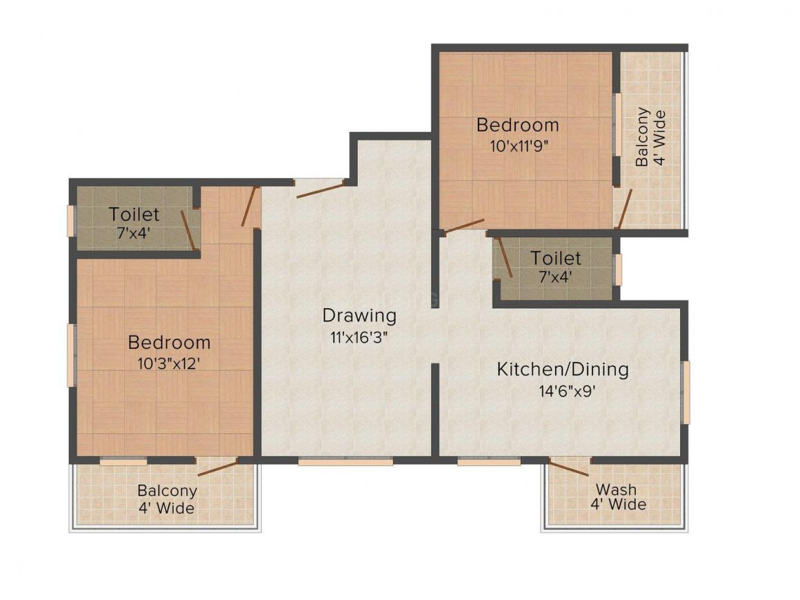 Floor Plan Image of 0 - 1020 Sq.ft 2 BHK Apartment for buy in Samadhan Om Enclave