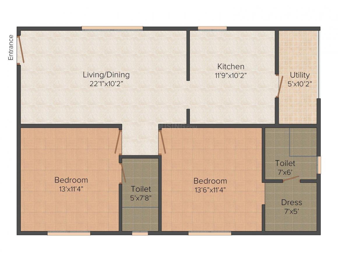 Floor Plan Image of 1135 - 1600 Sq.ft 2 BHK Apartment for buy in Karni Florenza
