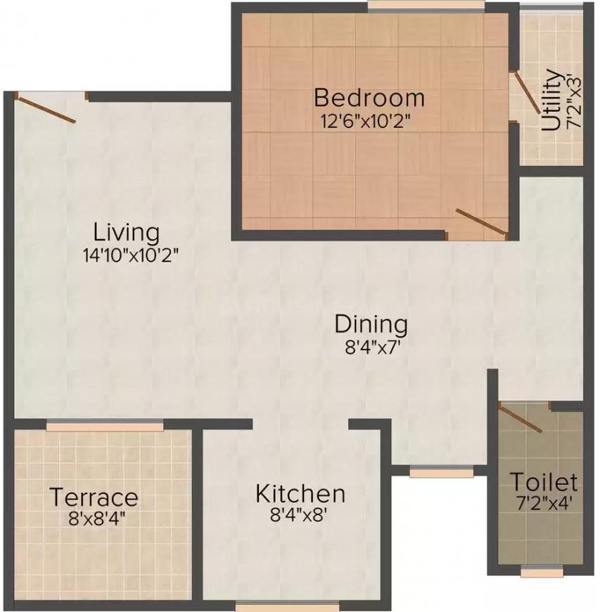 Shree Anand Royal Castle Floor Plan: 1 BHK Unit with Built up area of 789 sq.ft 1