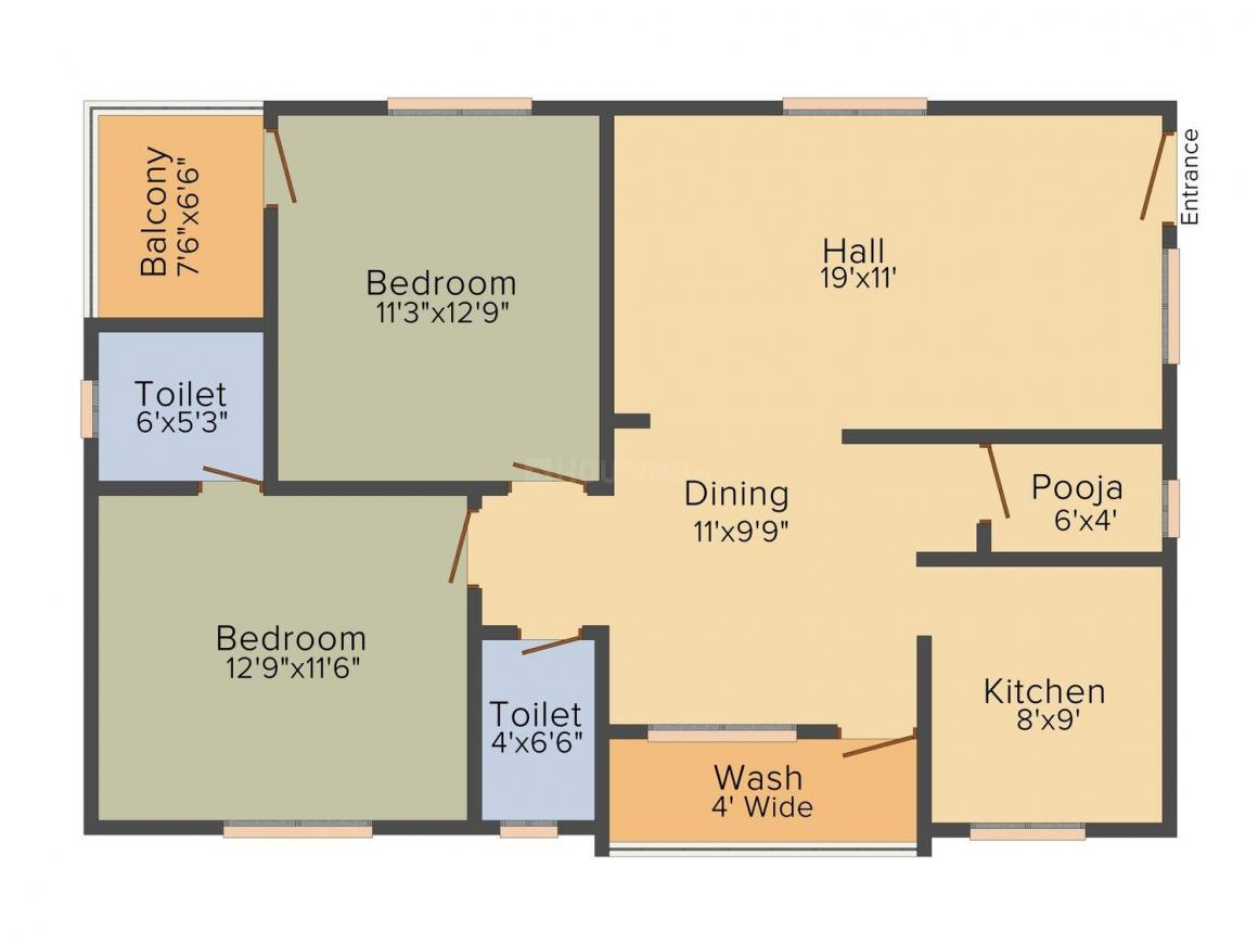 Vaishnavi Sai Green Heights Floor Plan: 2 BHK Unit with Built up area of 1175 sq.ft 1