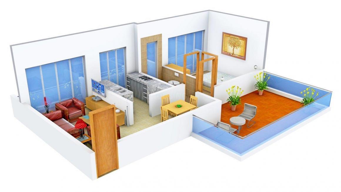 Floor Plan Image of 817.0 - 1050.0 Sq.ft 1 BHK Apartment for buy in Platinum Sai Villa