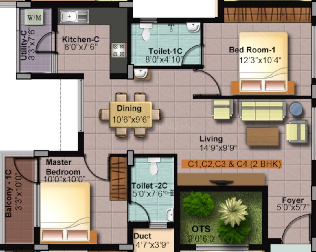 RKP Vigneshvara Homes Sky Floor Plan: 2 BHK Unit with Built up area of 966 sq.ft 1