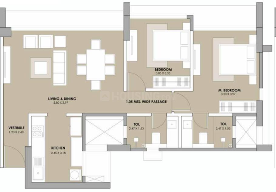 Simba Savana Phase 2 Floor Plan: 2 BHK Unit with Built up area of 764 sq.ft 1