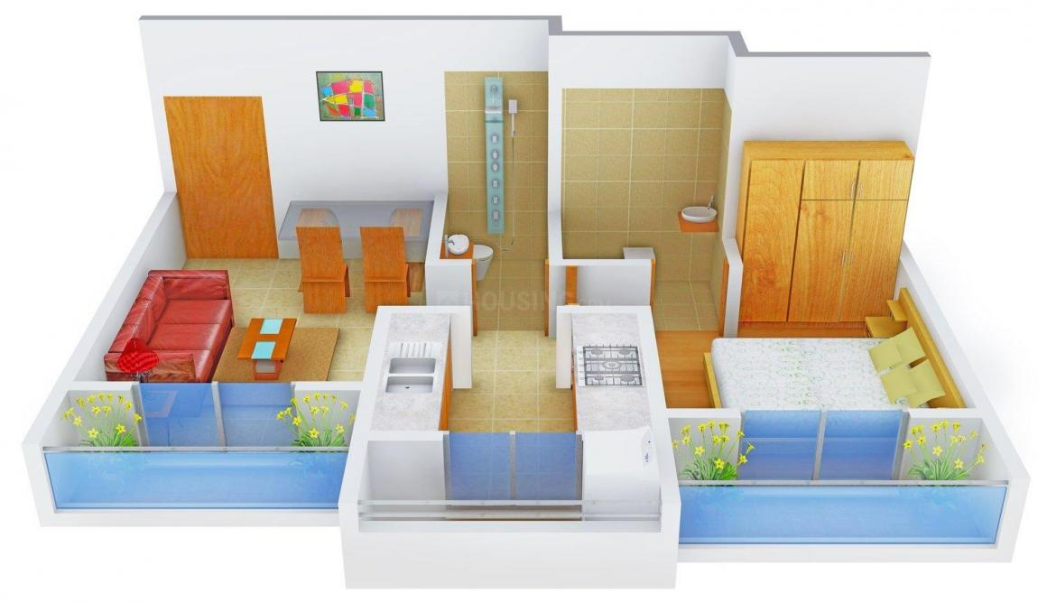 Floor Plan Image of 635.0 - 950.0 Sq.ft 1 BHK Apartment for buy in Kailash Towers