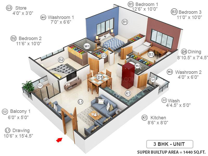Maighar Residency Floor Plan: 3 BHK Unit with Built up area of 1440 sq.ft 1