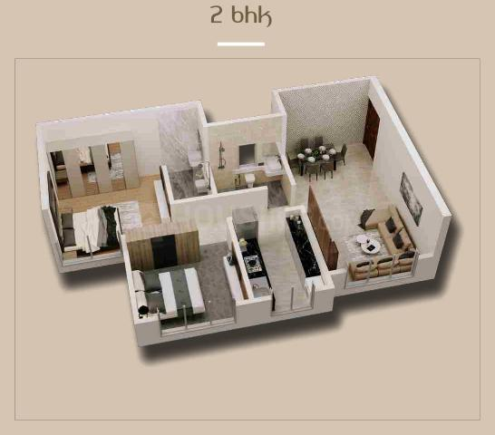 Shilpriya Silicon Hofe A Wing Floor Plan: 2 BHK Unit with Built up area of 516 sq.ft 1