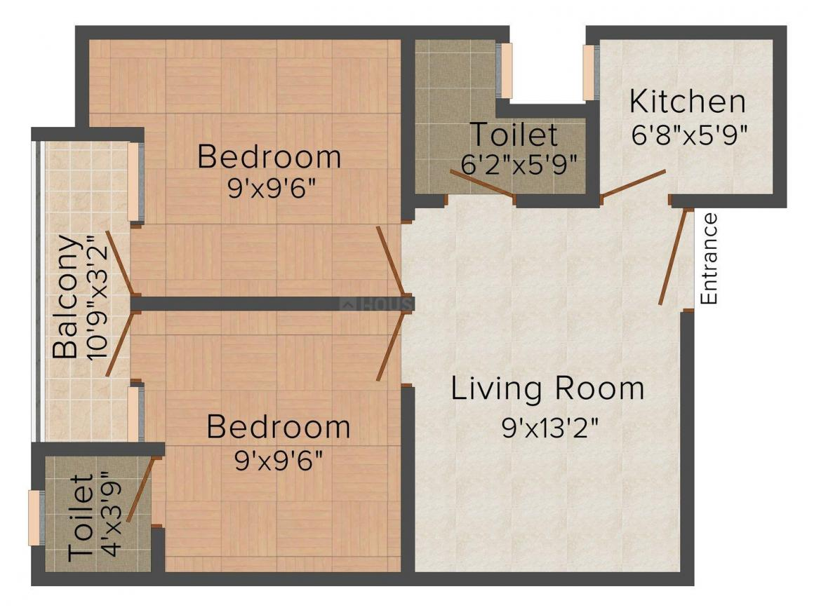 Aggarwal Garg Homes III Floor Plan: 2 BHK Unit with Built up area of 450 sq.ft 1