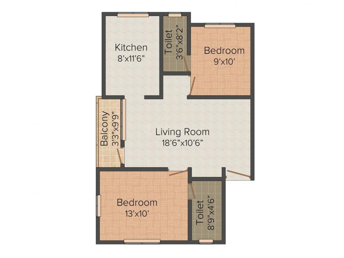 Fairyland Sai Akshayam Floor Plan: 2 BHK Unit with Built up area of 870 sq.ft 1