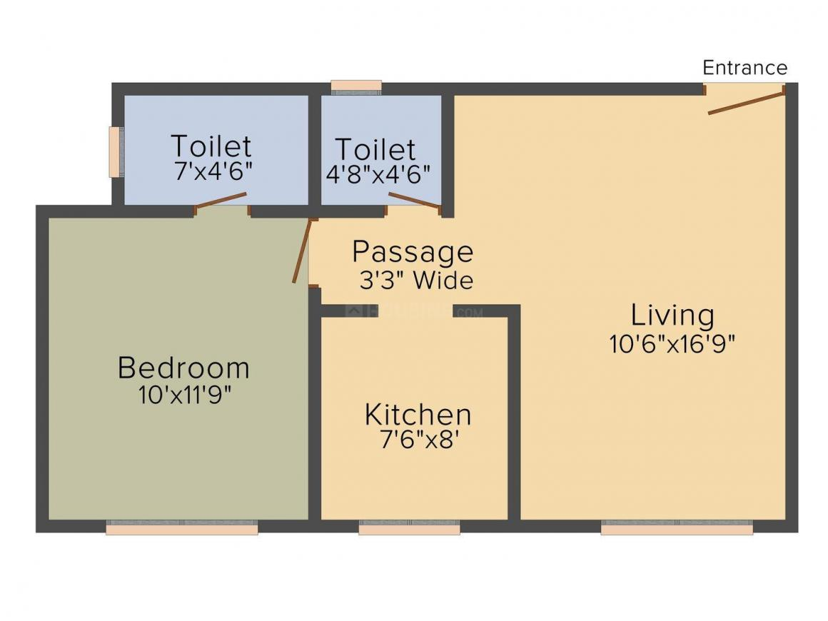 Floor Plan Image of 434.0 - 1120.0 Sq.ft 1 BHK Apartment for buy in