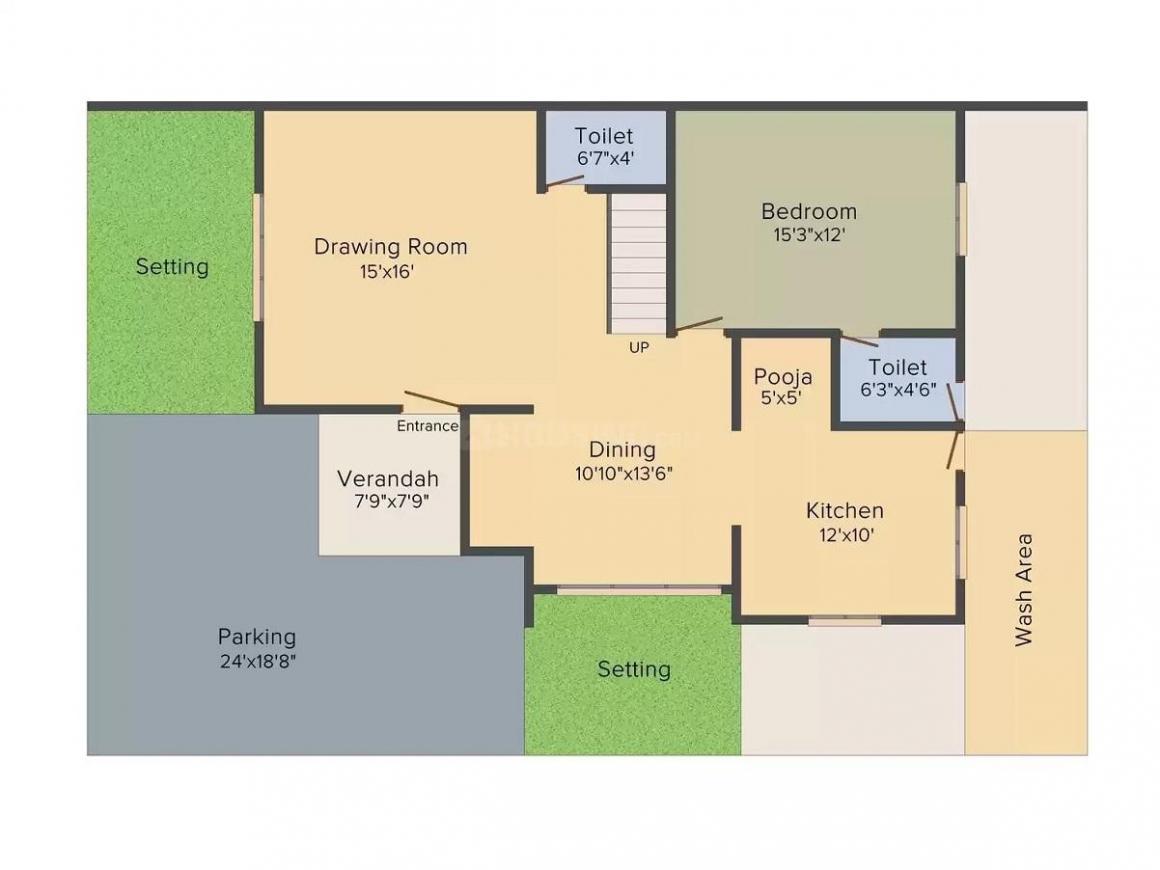 Bhakti Raj Floor Plan: 4 BHK Unit with Built up area of 1863 sq.ft 1