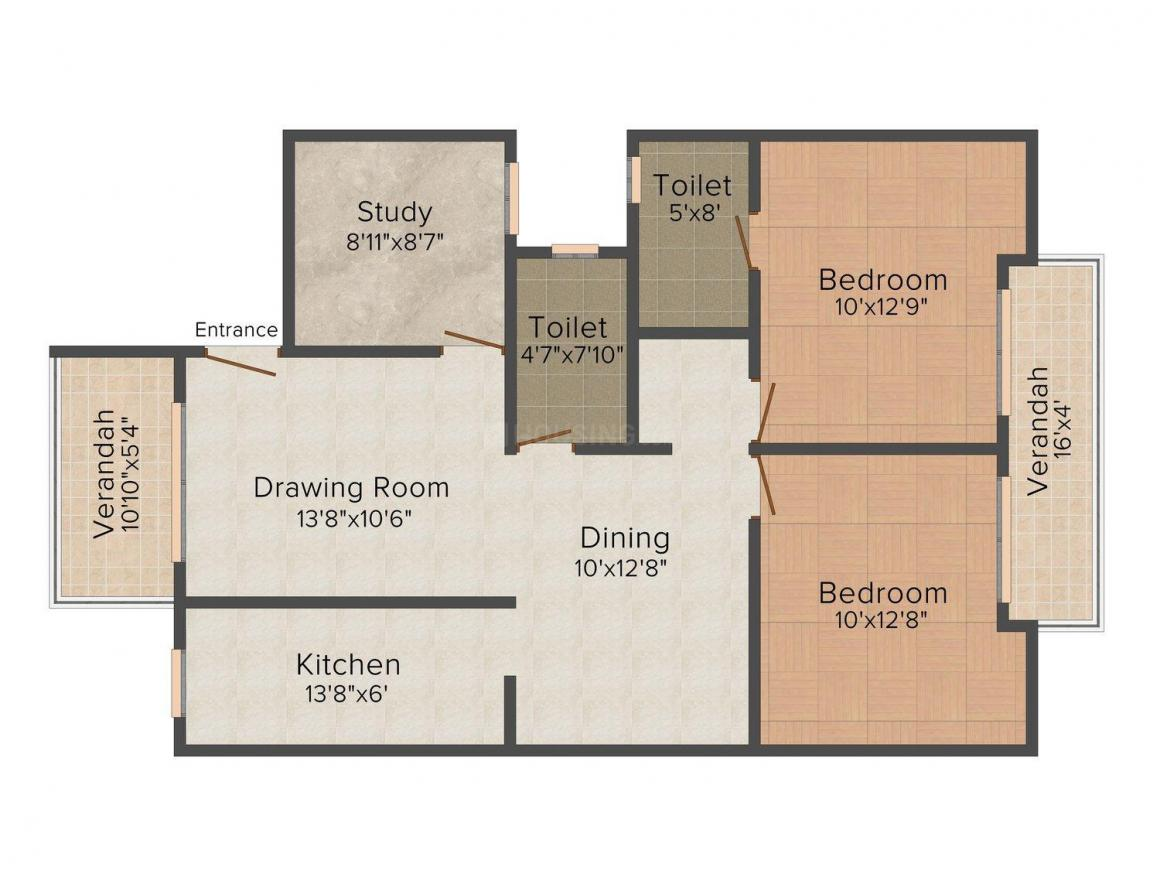 Floor Plan Image of 0 - 1325 Sq.ft 2 BHK Independent Floor for buy in Ashiana Daisy