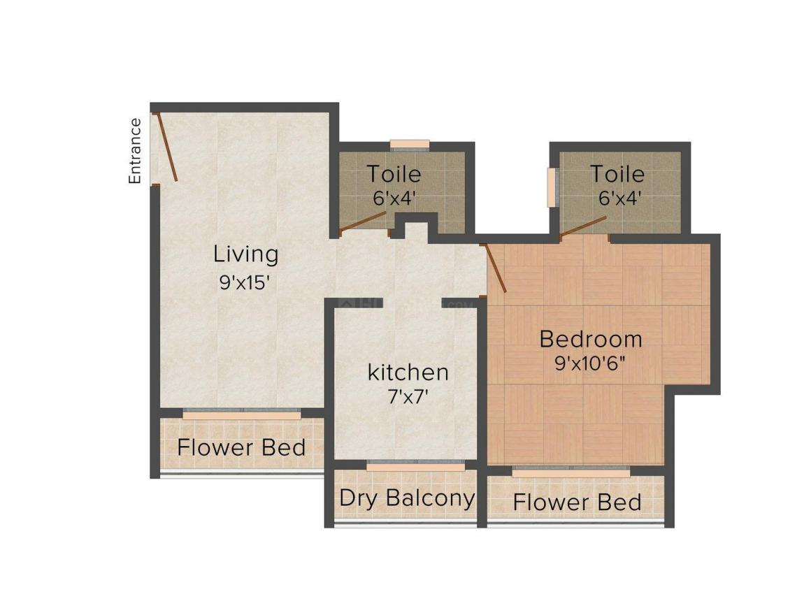 Floor Plan Image of 575 - 815 Sq.ft 1 BHK Apartment for buy in Arihant Teerth Plaza