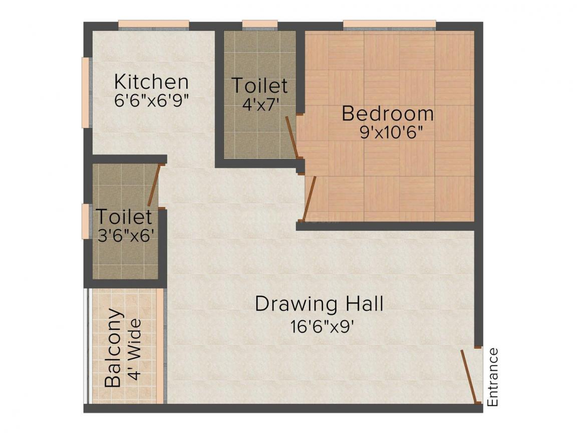Floor Plan Image of 460 - 675 Sq.ft 1 RK Apartment for buy in Dhruv Paradise